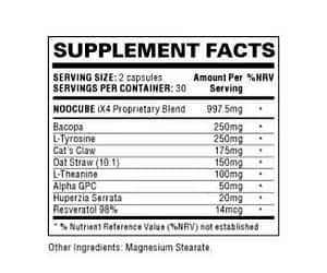 Is Noocube a Scam - Ingredient Label for Noocube Nootropic Supplement