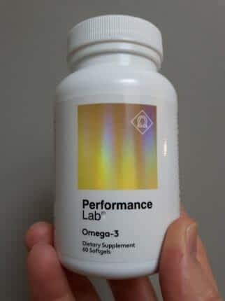 Bottle of Omega-3 to test for Performance Lab Omega-3 review.
