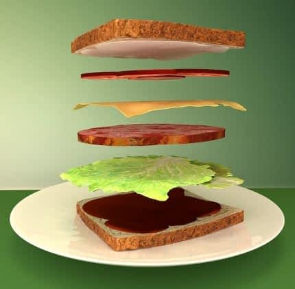 Sandwich with stacked ingredients.