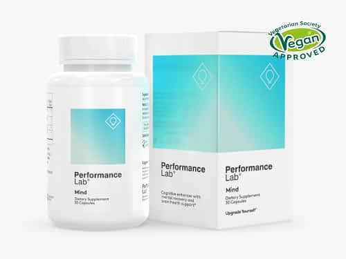 Performance Lab Mind Review - Bottle of Vegan Approved Performance Lab Mind Nootropic Supplement