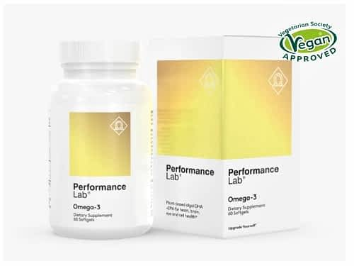 Bottle of Performance Lab Omega-3 nootropic supplement.
